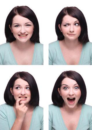 Beautiful brunette Passport photo style range of expressions.