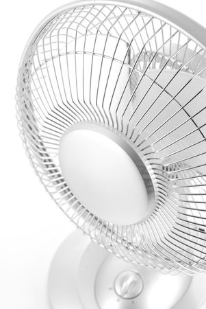 Silver Electric Fan on White Background photo