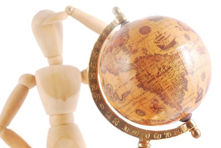 Artists mannequin with globe photo