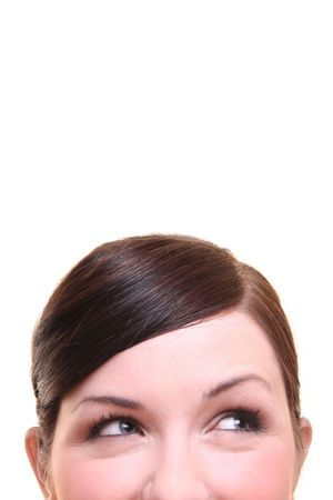 nosey: Curious thinking, smiling woman on white background