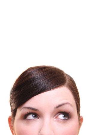 nosey: Curiousthinkingimagining woman on white background