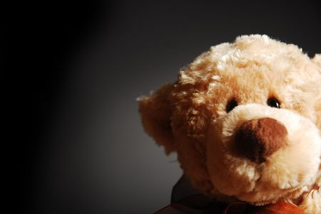 toy bear: A curious, peering Teddy bear on a dark background
