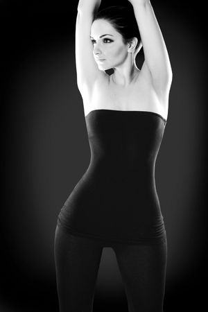 A black and white image of a woman showing off her hourglass figure. Stock Photo - 6172140