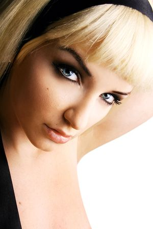 fringe: Close up of a beautiful young woman looking at the camera. Stock Photo