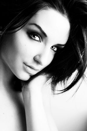 Black and white close up of a beautiful woman looking at the camera. Stock Photo - 6902815