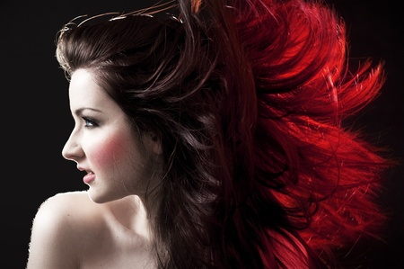 ginger hair: A beautiful woman with crazy hair