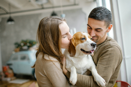 Junges Paar kaukasischen kaukasischen und weiblichen mit Beagle im Esszimmer Standard-Bild - 95172977