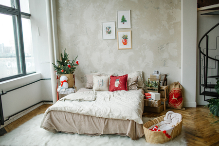 Empty modern loft living room decorated for christmas celebration