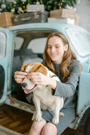 Young beautiful caucasian woman with beagle on lap sitting in retro car