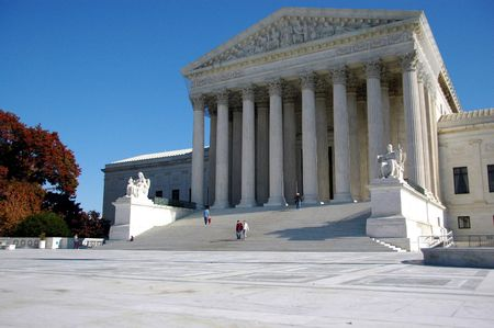 Facade of supreme court building in Washington DC photo