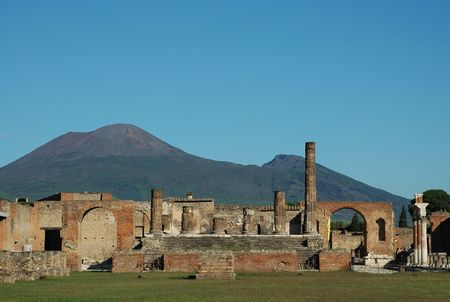Ruins of forum in Pompeii Italy, with Mount Vesuvius in background Stock Photo