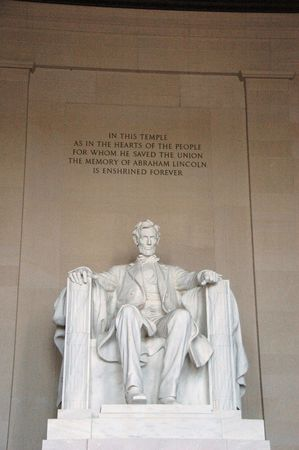 honest abe: Marble statue of Abraham Lincoln inside the Lincoln Memorial Stock Photo