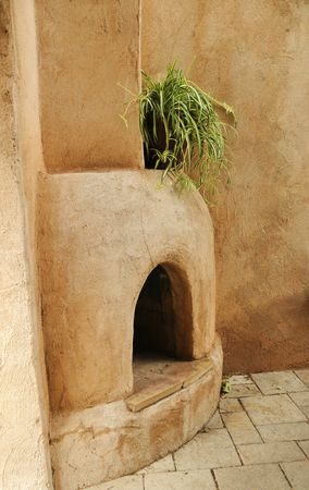 Outdoor Adobe Fireplace Stock Photo - 5087611
