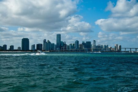 skyline of south beach in miami florida, as seen from the atlantic ocean photo