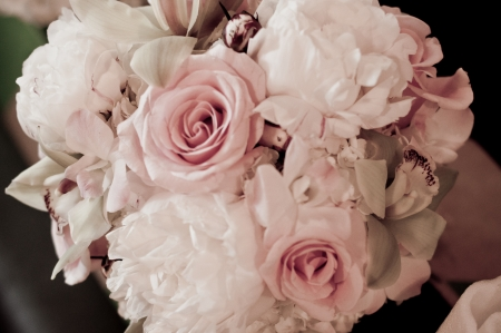 soft coloration of bouquet of pink and white roses
