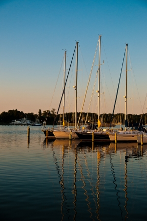 Row of sailboats tied up at a dock, masts reflecting off the calm water, beautiful cloudless blue sky photo