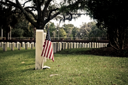 Row of tombstones at Beaufort National Cemetery in Beaufort South Carolina, with American Flag in ground of first gravesite photo