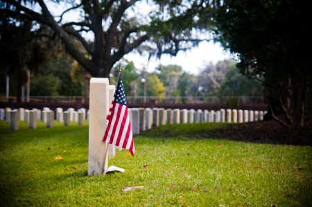 Row of tombstones at Beaufort National Cemetery in Beaufort South Carolina, with American Flag in ground of first gravesite