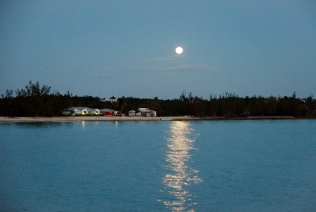 Full Moon reflecting off the ocean.  shoreline, trees and small homes are visible. Stok Fotoğraf