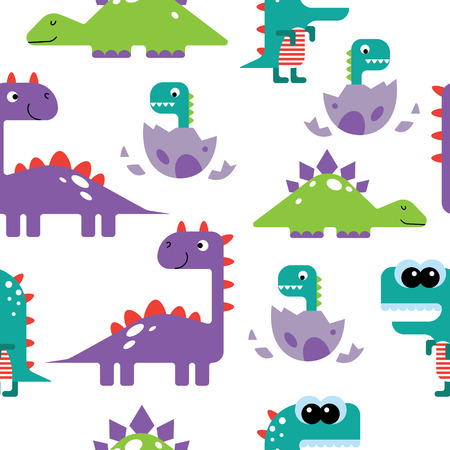 pattern: pattern with dinosaur cartoon characters Illustration