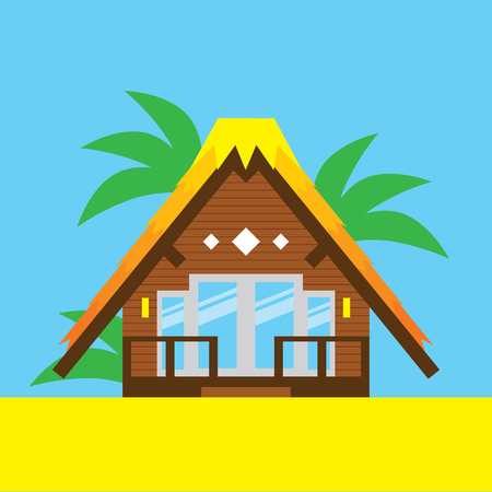 Beach Bungalow Illustration Vector