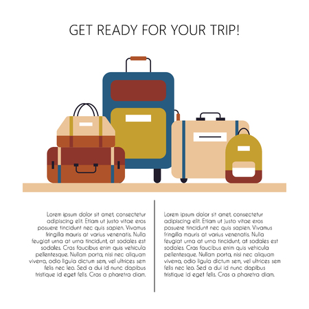 Getting ready for a trip template with different suitcases illustration.