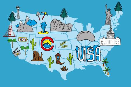 Mapa ilustrado de los EEUU - elementos drenados mano con símbolos de las atracciones turísticas. Elemento de diseño creativo para la bandera turística, decoración de la pared, guía de viaje, imprimir.