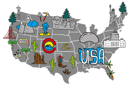 Illustrated USA map - hand drawn elements with symbols of tourist attractions. Creative design element for tourist banner, wall decoration, travel guide, print. Illustration