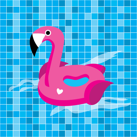 Bright vector flamingo float in the pool