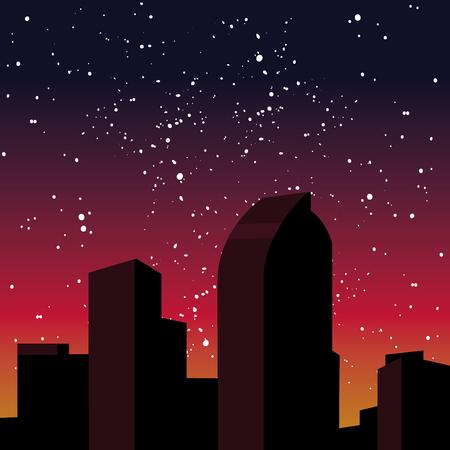 Flat illustration of a night city. Denver, Colorado