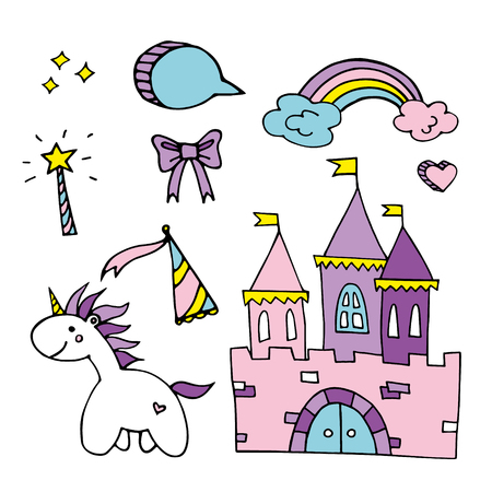 set of hand drawn unicorn and magical elements royalty free cliparts