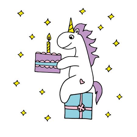 생일 케이크가있는 유니콘