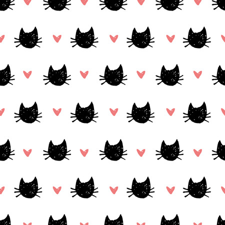 Cute pattern with cats and hearts.