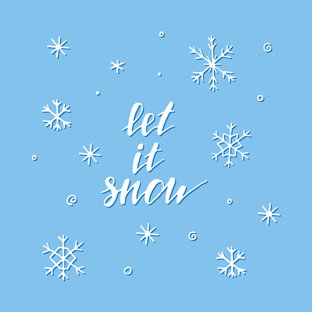 hand print: Let it snow - winter illustration with snowflakes