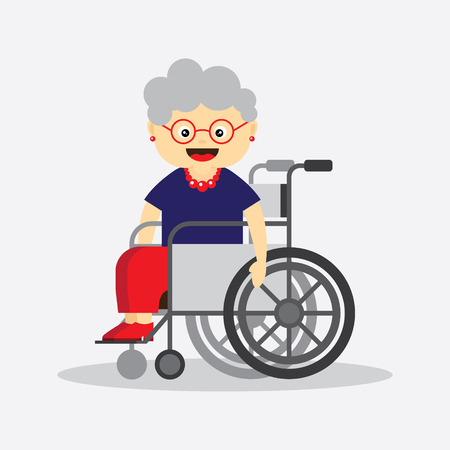 Old woman in a wheelchair character.