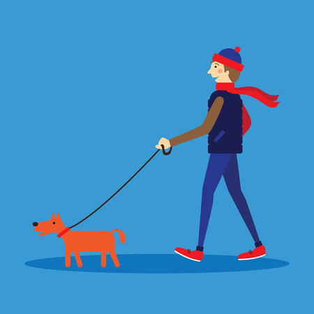Man walking with a dog icon.