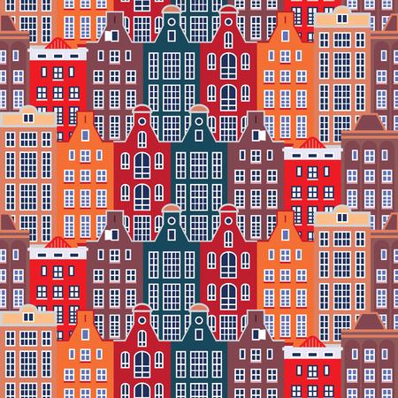 手描きの伝統的なヨーロッパの家と都市シームレスなパターン。ベクトルイラスト。  イラスト・ベクター素材