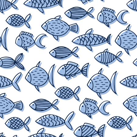 Hand drawn abstract fish vector seamless pattern. Illustration