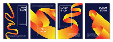 Modern covers with twisting shapes. Trendy minimal design. Gradient ribbons illustration.