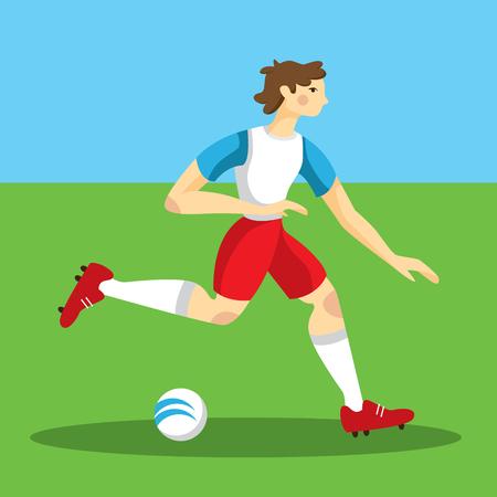 running soccer player vector illustration