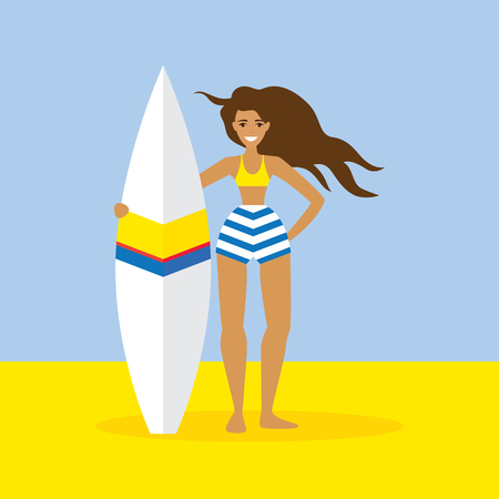 Surfer girl flat vector character. Summer activity illustration. Illustration