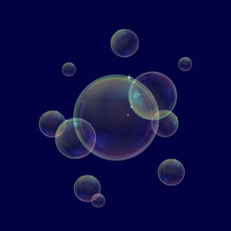 Realistic soap bubbles. Water bubbles vector illustration Ilustração