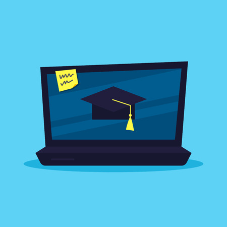 Education online concept. Laptop with a graduation cap on screen vector illustration. Flat style Illustration