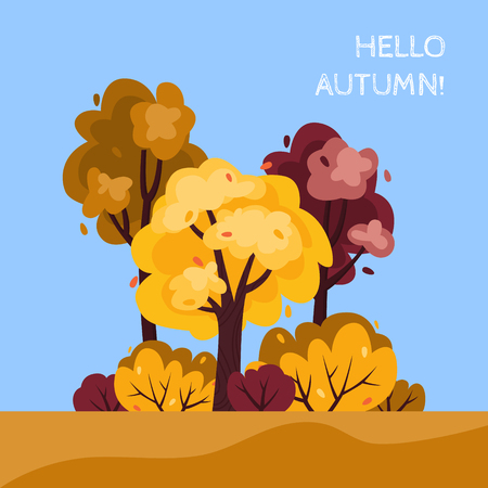 Vector illustration of a forest or park in a trendy flat style in the autumn.