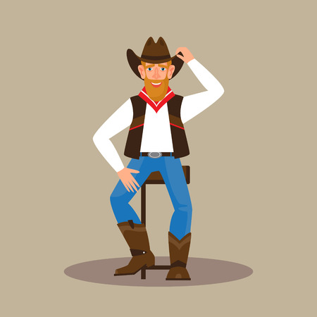 Young attractive man wearing a cowboy outfit. Male character