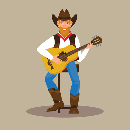 Young attractive man wearing a cowboy outfit and plaiyng guitar. Male character flat style vector illustration. Country musician