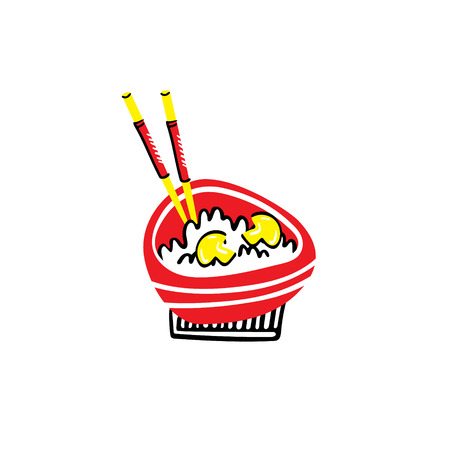 Vector rice bowl concept. Hand drawn illustration of traditional asian food.