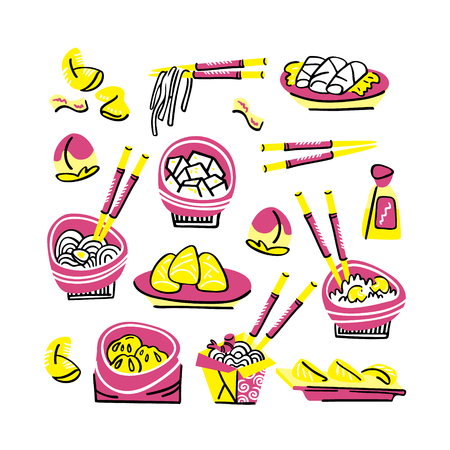 Set of traditional chinese food. Hand drawn modern illustration Illustration