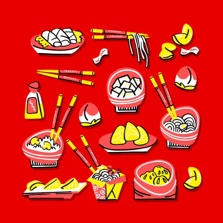 Set of traditional chinese food. Hand drawn modern illustration Standard-Bild - 113244009