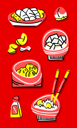 Set of traditional chinese food. Hand drawn concept Illustration